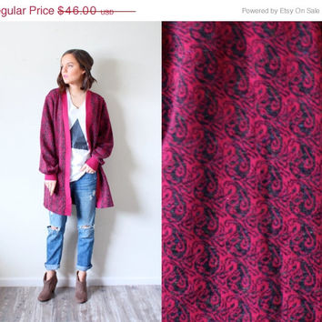 15% off VALENTINES SALE Vintage oversized boho maroon sweater cardigan //  tribal print sweater // knit cardi // black pattern /// oversized
