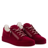 Giuseppe Zanotti Gz The Unfinished Dark Red Leather Low-top Sneaker With Flocking Patina - Best Deal Online