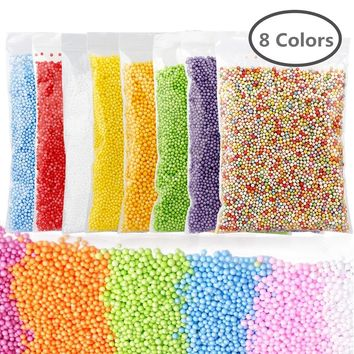 8 Colors Styrofoam Balls Mini Foam Beads For Slime Kids Art Craft DIY Doll Fillings Birthday Home Party Decoration DIY Supplies