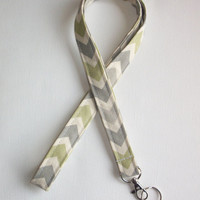 Lanyard  ID Badge Holder - Reed Gray Green Chevron zigzag Zig zag  - Lobster clasp and key ring