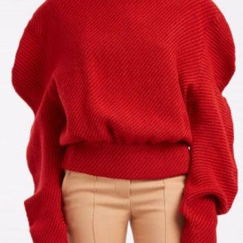 Boutique 1 - A.W.A.K.E - Red Ruffled Wool Jumper | Boutique1.com