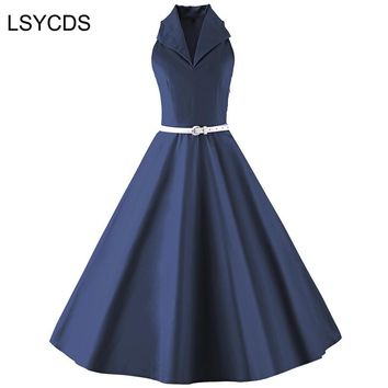 LSYCDS Elegant Vintage Dress Audrey Hepburn 50s 60s V Neck Sexy Solid Blue Black Retro Casual Party Robe Plus Size With Sashes