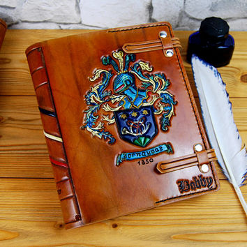 A5 Family Crest Leather Journal Notebook For Custom Order Fathers Day Gift Personalized TiVergy Journal