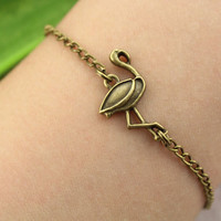 bracelet-- red-crowned crane bracelet,antique bronze charm pendant,animal jewelry,alloy chain
