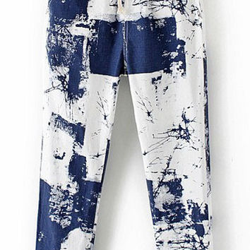 Blue Drawstring Waist Abstract Print Pants