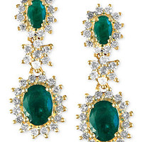 Brasilica by Effy Collection 14k Gold Earrings, Emerald (2 ct. t.w.) and Diamond (7/8 ct. t.w.) Drop Earrings - Earrings - Jewelry & Watches - Macy's
