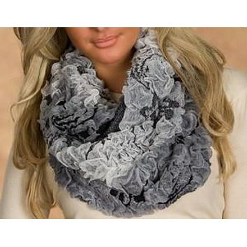 WOMAN SCARF FLUFF GREY