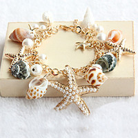 Starfish multi-element shell bracelet