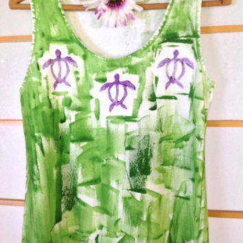 Hand Painted Sun Dress - Hawaii Beach dress - Plus Size Cover Up - Resort Cruise Dress - A Line Dress  Kauai Hawaii Dress blue green