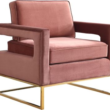 Noah Pink Velvet Accent Chair