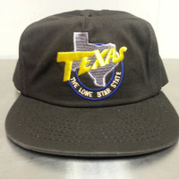 """Vintage 80's 90's Texas """"The Lone Star State"""" Black Snapback Hat Cap Texas State Retro Western Cowboy Baseball Hat Dad Hat"""
