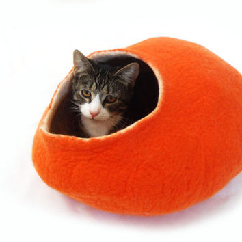 Orange Cat Bed Cave Cocoon Felted Wool pumpkin with FREE Ball - Large