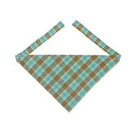 Dog Bandana, Plaid Dog Bandana, Dog Collar Accessory, Plaid Dog Accessory, Brown Pet Accessory, Green Dog Clothes, Brown Pet Clothes