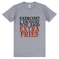 Extra Fries-Unisex Athletic Grey T-Shirt