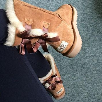 Ugg Fashion Winter Women Cute Bowknot Flat Warm Snow Ankle Boots-16