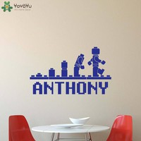 Personalized Name Wall Stickers For Kids Rooms Boys Girls Bedroom Wall Decal Nursery Lego Custom Name Decor Playroom PosterSY426