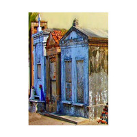 Gothic Dark Art, The Sentinels,  5x7 New Orleans Fine Art Print, Cemetery Architecture, Graveyard Art