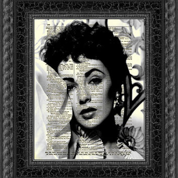 Elizabeth Taylor Dictionary Print, Elizabeth Taylor Black and White, Wall Decor, Art Print, Antique Dictionary Page Art