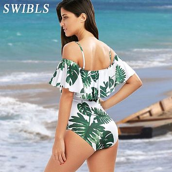 Woman Plus size Swimsuit 2019 One Piece Floral Bathing Suit for Women Big Leaf Beach Swimming Vintage Bather Female Swimwear