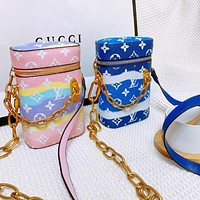 LV tie-dye series chain Phone Box presbyopia chain phone bag messenger bag blue pink