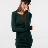 Ruched Crew Neck Sweater Dress