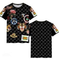 """""""Gucci"""" Personality Tiger Head Letter Rose Flower Print Women Casual Short Sleeve T-shirt Top Tee"""