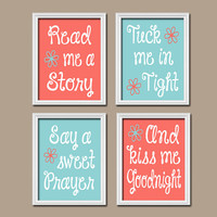 Coral Nursery Wall Art Nursery Canvas Artwork Girl Child Aqua Kiss Me Goodnight Quote Crib Song Print Set of 4 Prints  Baby Decor