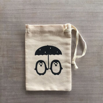 Small Drawstring Gift bag - Penguins with umbrella, cotton canvas pouch, penguin couple, love, any occasion, gift wrapping