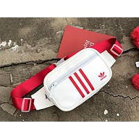 ADIDAS tide brand men's chest bag backpack pocket bag Messenger bag White