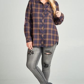 Flannel Shirt with Crochet Elbow Patches