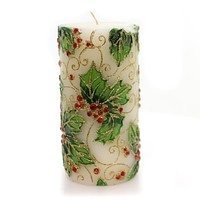 Christmas Glittered Holly & Berry Candle Decorative Candle