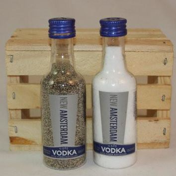 Salt & Pepper Shakers Upcycled from New Amsterdam Vodka Mini Liquor Bottles