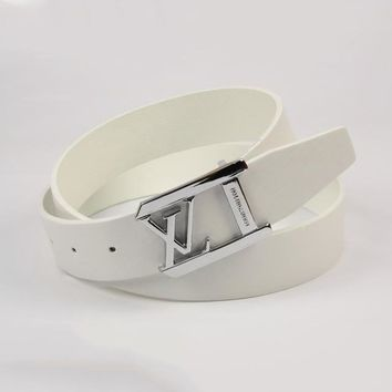 Perfect Louis Vuitton Woman Fashion Smooth Buckle Belt Leather Belt