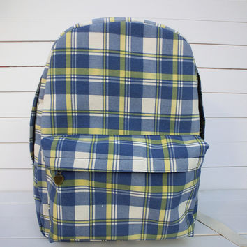 Canvas Korean Plaid Backpack = 4887453508