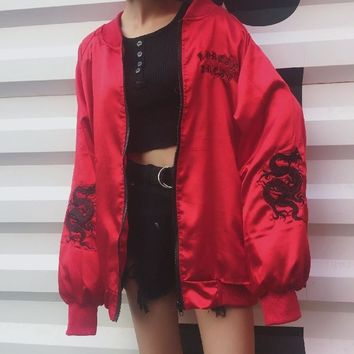 Gothic letter embroidery  silk coat embroidery dragon satin silky zipper jacket bomber jacket Baseball thin silk coat Kpop stree