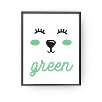 Learning Colors, Green Bear Print, Typography Poster, Animal Print, Kids Print, Baby Art, Children Learning, Nursery Art, Education Poster