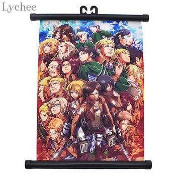 Cool Attack on Titan Lychee Japanese Anime  Classcial Canvas Scroll Painting Living Room Home Wall Print Modern Art Decor Poster AT_90_11