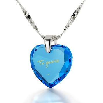 """I Love You"" in Spanish, 14k White Gold Necklace, Cubic Zirconia"