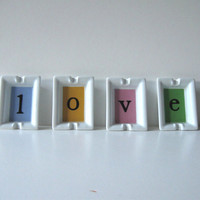 Paris Love Valentine, Set of French Porcelain Ashtrays, Home Decor, gift idea