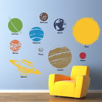 Solar System Wall Decal - Complete Solar System with Planet Names Wall Decor - Children Wall Decals