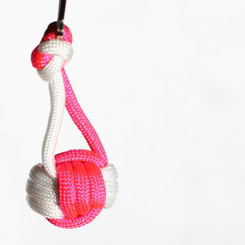 Pink and White Volleyball Keychain, Paracord Monkey Knot