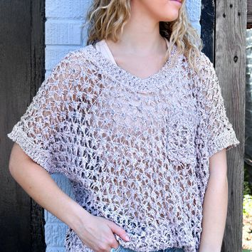 Crocheted High Low Top - Peach by POL Clothing