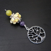 Amethyst and Olive Serpentine Moonlit Flower Tree of Life Blessingway bead - Blessing, baby shower gift, pregnancy gift, pendant, doula gift