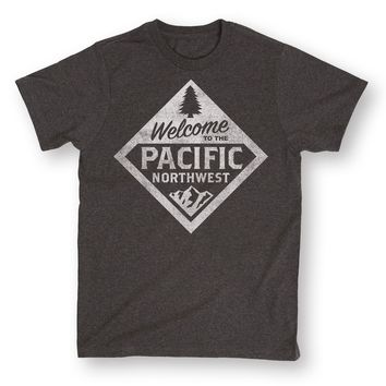 Welcome To Pacific Northwest Entry Sign Washington Oregon State Mens T-Shirt