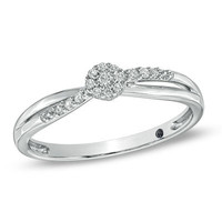 Cherished Promise Collection™ 1/10 CT. T.W Diamond Cluster Promise Ring in 10K White Gold - Save on Select Styles - Zales