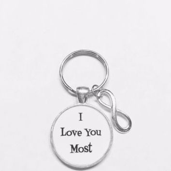 I Love You Most Infinity Valentine's Day Gift For Wife Girlfriend Mom Keychain