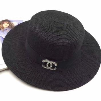 ONETOW Chanel' Women Casual Diamond Letter Temperament Large Brimmed Hat Sun Straw Cap Flat Top Hat