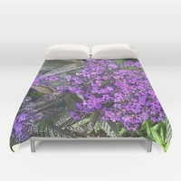 Spring floral blossom in lilac and green  Duvet Cover by ankka
