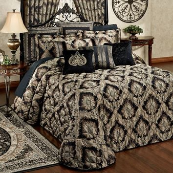 Fenmore Damask Quilted Oversized Bedspread Bedding