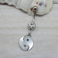 Antique silver yi yang belly button ring , yi yang navel piercing, friendship belly button ring, unique gift